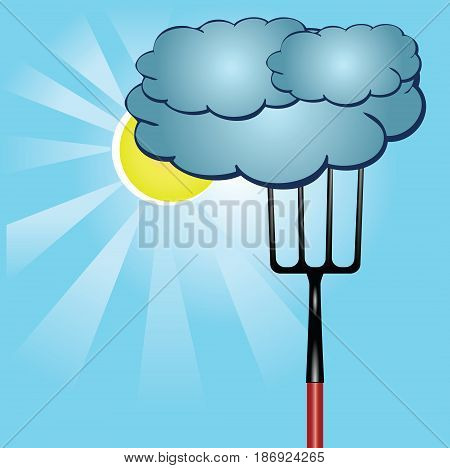 Agricultural poster with the weather. The pitchfork pulls the clouds away from the sun.