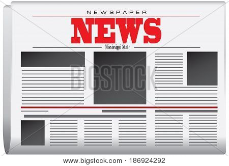 Abstract Newspaper News from Mississippi state. Vector