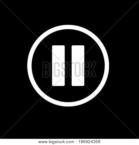pause button. vector icon in linear style isolated on black. Audio or video icon. eps 10
