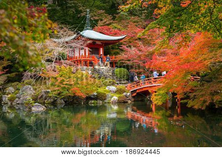 KYOTO, JAPAN - NOVEMBER 10, 2016 : Daigo-ji temple with colorful maple trees in autumn, Kyoto, Japan. Daigo-ji is a Shingon Buddhist temple in Fushimi-ku, Kyoto, Japan.