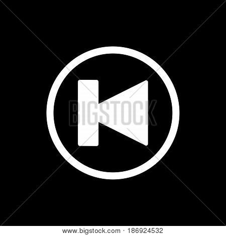 previous track button icon. Vector illustration outline on black. eps 10
