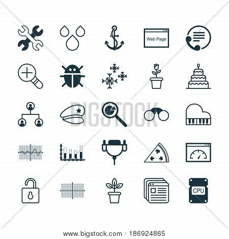 Set Of 25 Universal Editable Icons. Can Be Used For Web, Mobile And App Design. Includes Elements Such As Segmented Bar Graph, Loading Speed, Beetle And More.