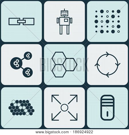 Set Of 9 Artificial Intelligence Icons. Includes Related Information, Variable Architecture, Hive Pattern And Other Symbols. Beautiful Design Elements.
