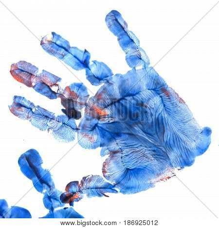 Red and blue imprint of children's hands gouache. Imposition of prints on each other. Finger paint. Children's creativity.