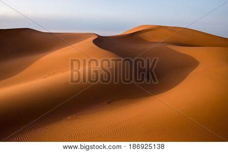 Waves of sand dunes in the Sahara desert at sunset