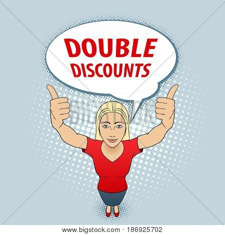 Young Woman in Red Blouse Making Thumbs up Sign with Both Hands. Double Discount