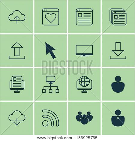 Set Of 16 World Wide Web Icons. Includes Website Bookmarks, Save Data, Display And Other Symbols. Beautiful Design Elements.