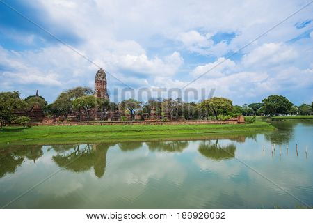Ruins Of Buddha Statues And Pagoda Of Wat Phra Ram In Ayutthaya Historical Park, Thailand