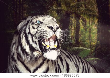 White Tiger Yawns On The Green Foliage Background.