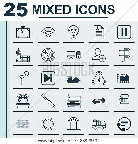 Set Of 25 Universal Editable Icons. Can Be Used For Web, Mobile And App Design. Includes Elements Such As Opportunity, Mute Song, Innovation And More.