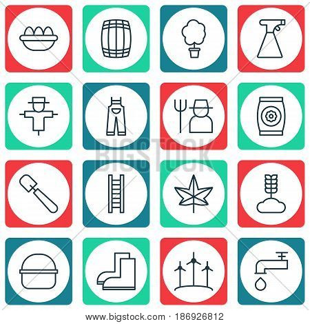 Set Of 16 Planting Icons. Includes Stairway, Garden Clothes, Cask And Other Symbols. Beautiful Design Elements.