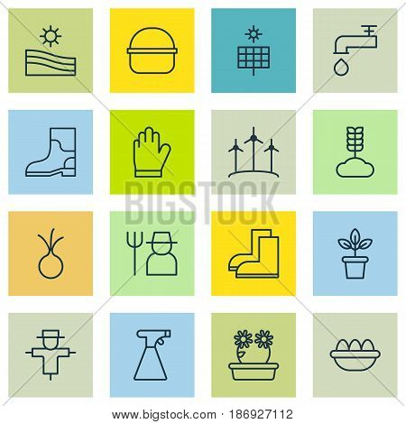 Set Of 16 Holticulture Icons. Includes Floweret, Gardening Shoes, Grower And Other Symbols. Beautiful Design Elements.