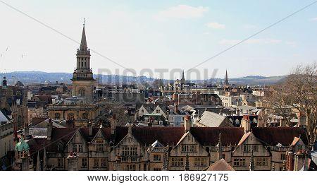Oxford England. Horizontal panorama of Oxford. Image was taken in April, 2016.