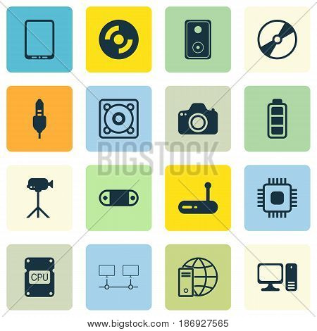 Set Of 16 Computer Hardware Icons. Includes Audio Device, Aux Cord, Cpu And Other Symbols. Beautiful Design Elements.