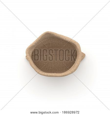 3d rendering of open burlap money bag isolated on white background in top view. Earning and spending money. Wealth and poverty. Bank deposits.