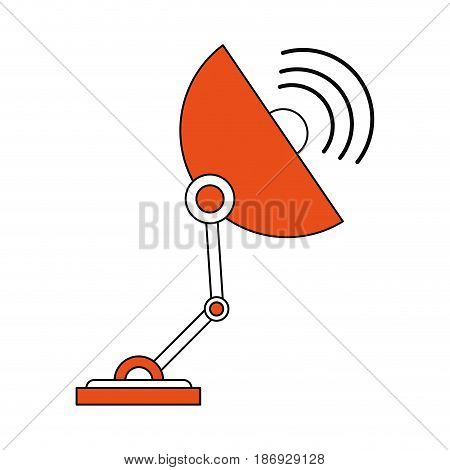 color silhouette image satellite antenna communication element vector illustration