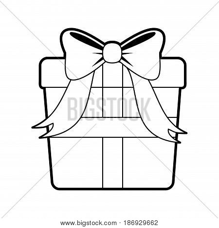 sketch silhouette image giftbox with wrapping bow vector illustration