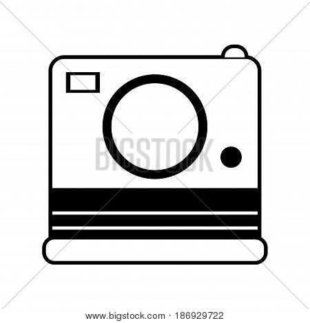 sketch silhouette image instant photo camera vector illustration