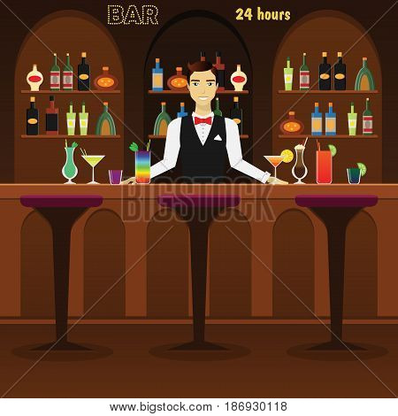 Bar, pub interior flat vector illustration with glasses, bottles, cocktails and wine. Man bartender at the bar with alcohol dreenks