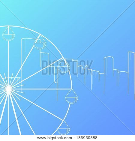 Modern city skyline background flat style vector illustration. Buildings cityscape with ferris wheel