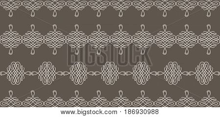 Set collection of borders with sample text in calligraphic retro style in beige color isolated on brown background.. Can be used for decorate cards invitations menu. Vector illustration