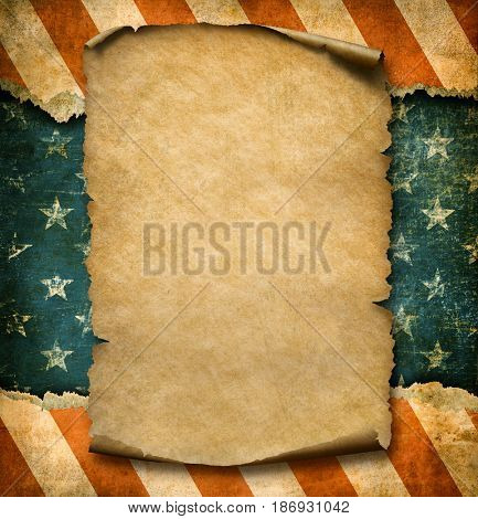 Grunge blank paper declaration over USA flag independence day template 3d illustration