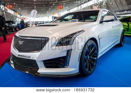 STUTTGART GERMANY - MARCH 03 2017: Mid-size luxury car Cadillac CTS-V 2016. Europe's greatest classic car exhibition