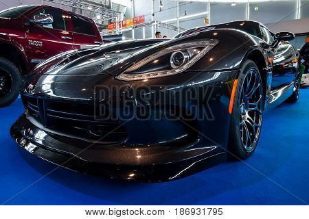 STUTTGART GERMANY - MARCH 03 2017: Sports car Dodge SRT Viper GTS Coupe 2014. Europe's greatest classic car exhibition