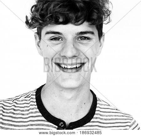 Young Man Smile Face Expression Studio Portrait
