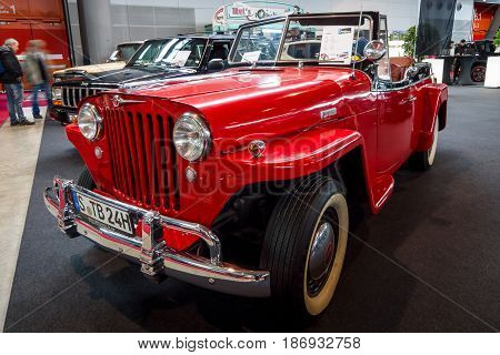 STUTTGART GERMANY - MARCH 03 2017: Vintage car Willys-Overland Jeepster 1949. Europe's greatest classic car exhibition
