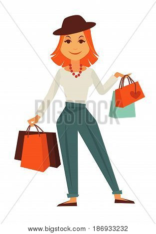 Cartoon stylish redhead female character in hat, red beads, white blouse, classic emerald pin rolled trousers and loafers holds shopping bags isolated vector illustration on white background.
