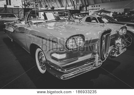 STUTTGART GERMANY - MARCH 03 2017: Full-size car Edsel Pacer Convertible 1958. Vintage stylization. Black and white. Europe's greatest classic car exhibition