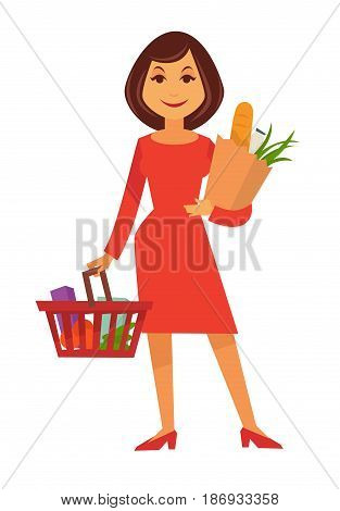 Cartoon woman in red dress and stiletto shoes smiles and stands with shopping basket full of products and paper bag with milk, scallion and baguette isolated vector illustration on white background.