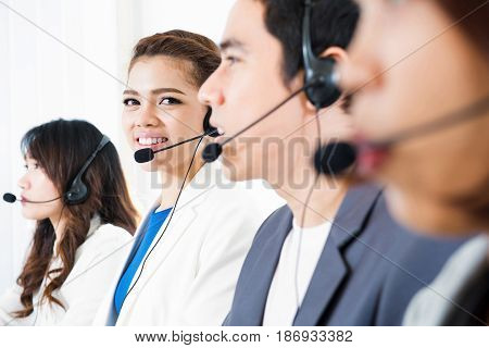 Call center (operator or telemarketer) team - telemarketing and customer service concepts