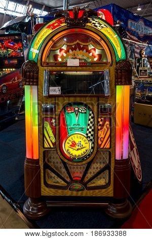 STUTTGART GERMANY - MARCH 03 2017: Vintage musical jukeboxe. Europe's greatest classic car exhibition
