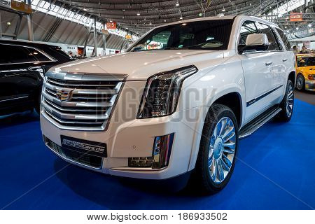 STUTTGART GERMANY - MARCH 03 2017: Full-size luxury SUV Cadillac Escalade Platinum 2017. Europe's greatest classic car exhibition