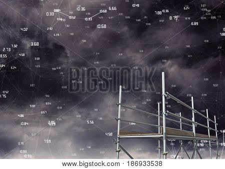 Digital composite of Connected numbers in dark clouds with 3D Scaffolding