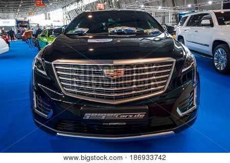 STUTTGART GERMANY - MARCH 03 2017: Mid-size luxury crossover SUV Cadillac XT5 Platinum 2017. Europe's greatest classic car exhibition