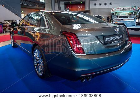 STUTTGART GERMANY - MARCH 03 2017: Full-size luxury car Cadillac CT6 AWD 2016. Rear view. Europe's greatest classic car exhibition