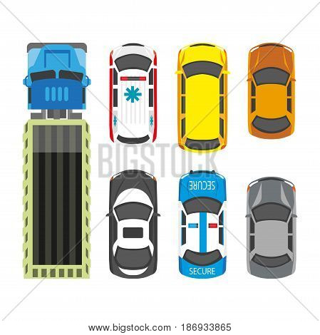 Transportation means collection in colors isolated on white. Vector poster in flat design of various kinds of vehicles on wheels, police car, ambulance bus and truck. Poster with top view on transport