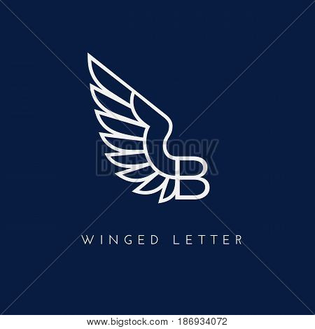 Letter B with one wing. Template for logo label emblem sign stamp. Vector illustration.