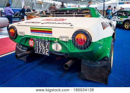 STUTTGART GERMANY - MARCH 03 2017: Sports and rally car Lancia Stratos HF (Tipo 829) 1975. Rear view. Europe's greatest classic car exhibition