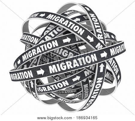 Migration Road New Platform Moving Change Cycle 3d Illustration