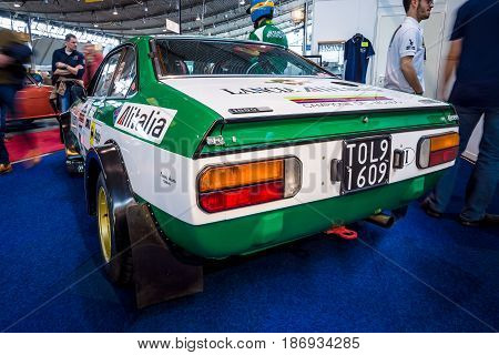 STUTTGART GERMANY - MARCH 03 2017: Sports and rally car Lancia Beta Coupe The 1800 Rally Group 4 (Type 828) 1975. Rear view. Europe's greatest classic car exhibition