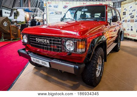 STUTTGART GERMANY - MARCH 03 2017: Full size SUV Toyota Land Cruiser J60 1985. Europe's greatest classic car exhibition