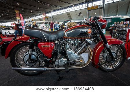 STUTTGART GERMANY - MARCH 03 2017: The Motorcycle Panther Model 120 1960. Europe's greatest classic car exhibition