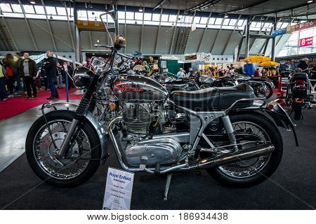 STUTTGART GERMANY - MARCH 03 2017: The motorcycle Royal Enfield Interceptor 1965. Europe's greatest classic car exhibition