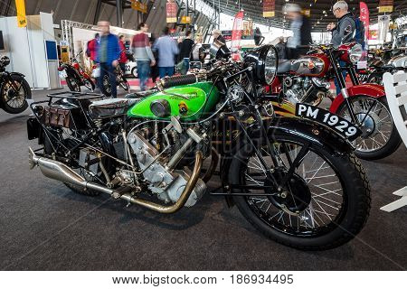 STUTTGART GERMANY - MARCH 03 2017: The motorcycle Panther Model 100 1929. Europe's greatest classic car exhibition