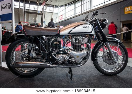STUTTGART GERMANY - MARCH 03 2017: Motorcycle Norton Dominator (Model 88) 1957. Europe's greatest classic car exhibition