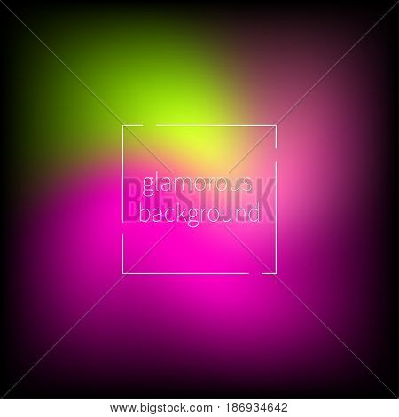 Glamorous blurred abstract background, banner, card with pink and green bright spots. Vector illustration.